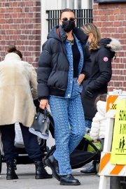 Irina Shayk seen in Black Puffer Jacket with Blue Outfit Out in New York 12/02/2020 1
