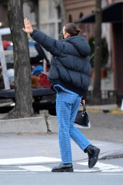 Irina Shayk seen in Black Puffer Jacket with Blue Outfit Out in New York 12/02/2020 2
