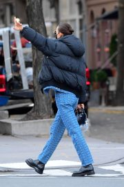 Irina Shayk seen in Black Puffer Jacket with Blue Outfit Out in New York 12/02/2020 3