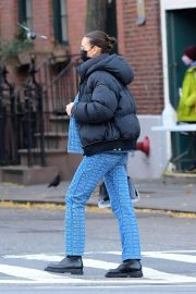 Irina Shayk seen in Black Puffer Jacket with Blue Outfit Out in New York 12/02/2020 4