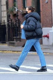 Irina Shayk seen in Black Puffer Jacket with Blue Outfit Out in New York 12/02/2020 5