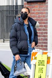 Irina Shayk seen in Black Puffer Jacket with Blue Outfit Out in New York 12/02/2020 6