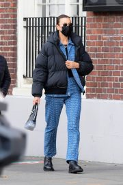 Irina Shayk seen in Black Puffer Jacket with Blue Outfit Out in New York 12/02/2020 7