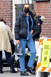 Irina Shayk seen in Black Puffer Jacket with Blue Outfit Out in New York 12/02/2020 8