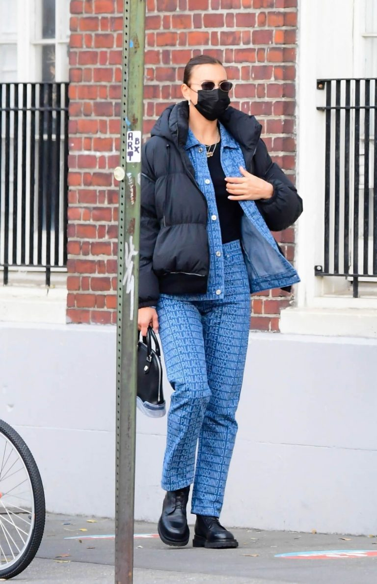 Irina Shayk seen in Black Puffer Jacket with Blue Outfit Out in New York 12/02/2020 9
