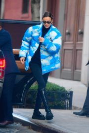 Irina Shayk seen in Puffed Sky Jacket Out in New York 11/24/2020 2