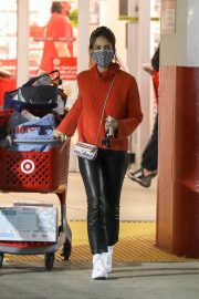 Jessica Alba in Red High Neck Sweater Out for Christmas Shopping at Target in Hollywood 12/04/2020 2