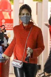 Jessica Alba in Red High Neck Sweater Out for Christmas Shopping at Target in Hollywood 12/04/2020 3