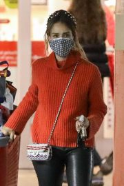 Jessica Alba in Red High Neck Sweater Out for Christmas Shopping at Target in Hollywood 12/04/2020 5