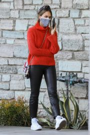 Jessica Alba in Red High Neck Sweater Out for Christmas Shopping at Target in Hollywood 12/04/2020 7