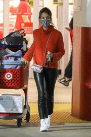 Jessica Alba in Red High Neck Sweater Out for Christmas Shopping at Target in Hollywood 12/04/2020 10