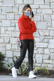 Jessica Alba in Red High Neck Sweater Out for Christmas Shopping at Target in Hollywood 12/04/2020 13