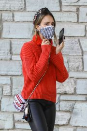 Jessica Alba in Red High Neck Sweater Out for Christmas Shopping at Target in Hollywood 12/04/2020 14