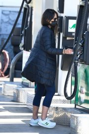 Jordana Brewster seen in Long Puffer Jacket at a Gas Station in Brentwood 12/05/2020 1