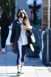 Jordana Brewster seen in Long Puffer Jacket at a Gas Station in Brentwood 12/05/2020 3