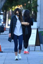 Jordana Brewster seen in Long Puffer Jacket at a Gas Station in Brentwood 12/05/2020 4