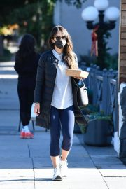 Jordana Brewster seen in Long Puffer Jacket at a Gas Station in Brentwood 12/05/2020 5