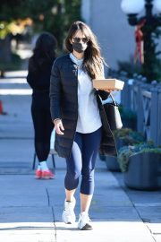 Jordana Brewster seen in Long Puffer Jacket at a Gas Station in Brentwood 12/05/2020 6
