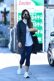 Jordana Brewster seen in Long Puffer Jacket at a Gas Station in Brentwood 12/05/2020 7