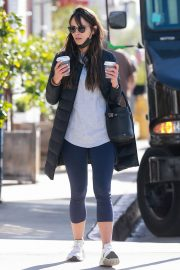 Jordana Brewster seen in Long Puffer Jacket at a Gas Station in Brentwood 12/05/2020 12