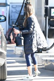 Jordana Brewster seen in Long Puffer Jacket at a Gas Station in Brentwood 12/05/2020 13