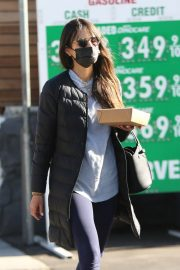 Jordana Brewster seen in Long Puffer Jacket at a Gas Station in Brentwood 12/05/2020 14