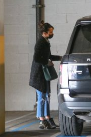 Jordana Brewster seen in Ripped Jeans Leaves a Vet Clinic in Westwood 11/25/2020 2
