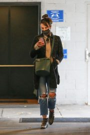 Jordana Brewster seen in Ripped Jeans Leaves a Vet Clinic in Westwood 11/25/2020 7