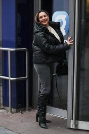 Kelly Brook in Black Puffer Jacket with Long Boots at Heart Radio in London 11/25/2020 4