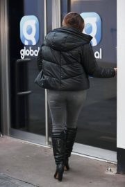 Kelly Brook in Black Puffer Jacket with Long Boots at Heart Radio in London 11/25/2020 7
