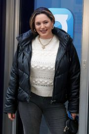 Kelly Brook in Black Puffer Jacket with Long Boots at Heart Radio in London 11/25/2020 9