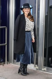 Kelly Brook in Long Coat with Skirt Arrives at Global Studios in London 11/24/2020 2