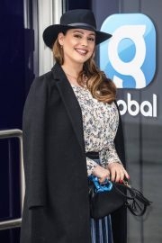 Kelly Brook in Long Coat with Skirt Arrives at Global Studios in London 11/24/2020 7