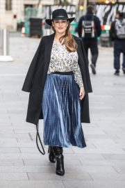 Kelly Brook in Long Coat with Skirt Arrives at Global Studios in London 11/24/2020 9
