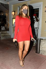 Larsa Pippen flashes her legs in a Tight Red Dress Night Out in Miami 12/04/2020 1