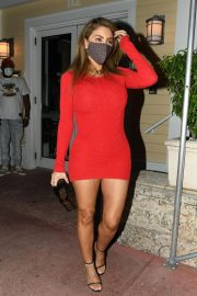 Larsa Pippen flashes her legs in a Tight Red Dress Night Out in Miami 12/04/2020 2