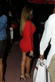 Larsa Pippen flashes her legs in a Tight Red Dress Night Out in Miami 12/04/2020 3