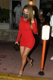 Larsa Pippen flashes her legs in a Tight Red Dress Night Out in Miami 12/04/2020 8