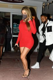 Larsa Pippen flashes her legs in a Tight Red Dress Night Out in Miami 12/04/2020 9