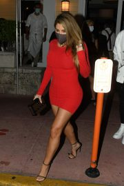 Larsa Pippen flashes her legs in a Tight Red Dress Night Out in Miami 12/04/2020 10