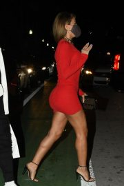 Larsa Pippen flashes her legs in a Tight Red Dress Night Out in Miami 12/04/2020 12
