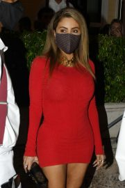 Larsa Pippen flashes her legs in a Tight Red Dress Night Out in Miami 12/04/2020 13