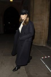 Lily James in a Black Long Coat Leaves St. Luke's Church in Chelsea 12/02/2020 1