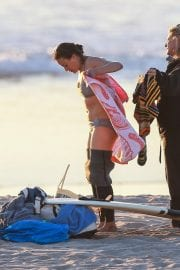 Michelle Rodriguez in Grey Bikini Surfing in Malibu 12/03/2020 11