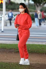 Olivia Munn seen in Red Sweatsuits Set Out and About in Santa Monica 11/24/2020 1