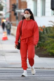 Olivia Munn seen in Red Sweatsuits Set Out and About in Santa Monica 11/24/2020 3