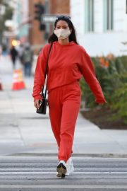 Olivia Munn seen in Red Sweatsuits Set Out and About in Santa Monica 11/24/2020 8