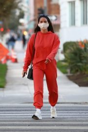 Olivia Munn seen in Red Sweatsuits Set Out and About in Santa Monica 11/24/2020 9