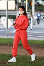 Olivia Munn seen in Red Sweatsuits Set Out and About in Santa Monica 11/24/2020 10