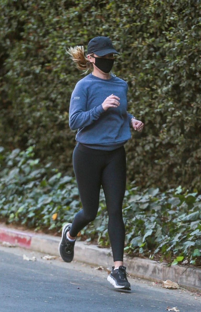 Reese Witherspoon in Tights Out Jogging in Brentwood 12/04/2020 2